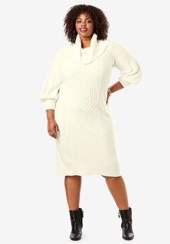 Turtleneck Sweater Dress, IVORY