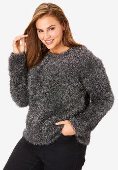 Metallic Eyelash Sweater, SILVER