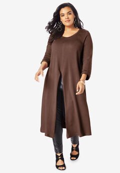 Front-Slit Drape Ultra Tunic, RICH BROWN