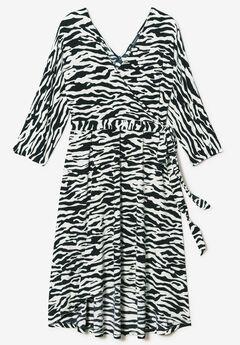 d22cc34379 Dolman-Sleeve Wrap Dress with High-Low Hem. Roaman s