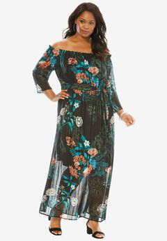 Off-The-Shoulder Printed Maxi Dress,