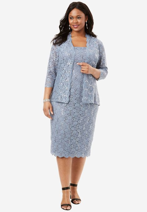 Lace Jacket Dress by Alex Evenings| Plus Size Special ...