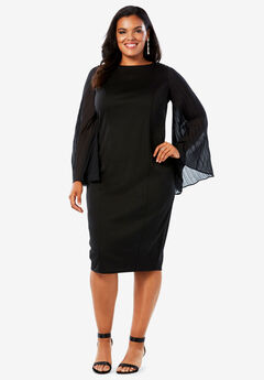 Sheath Dress with Pleated Bell Sleeves,
