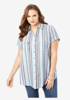 Seersucker Shirt, BLUE SEERSUCKER STRIPE