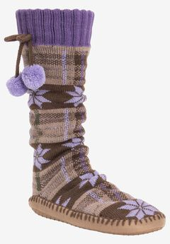 Slipper Socks with Poms by Muk Luks®,