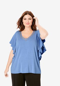 Embellished V-Neck Tee, FRENCH BLUE