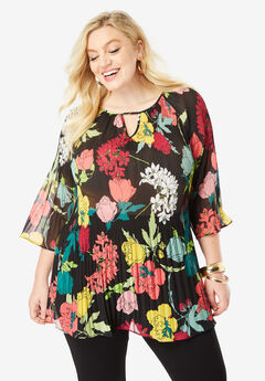 Pleated Keyhole Tunic, MULTI GRAPHIC FLORAL PRINT