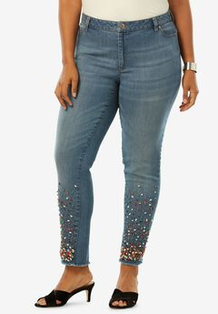 Fringe Embellished Skinny Jean by Denim 24/7®,