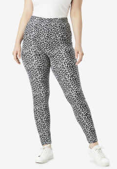 Ankle-Length Essential Stretch Legging, GRAY ANIMAL PRINT