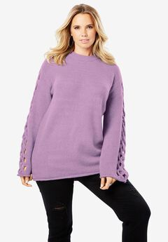 Lattice Bell-Sleeve Sweater, PLUM