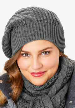 Cable Knit Beanie, SLATE