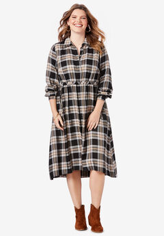 Swing Shirtdress with High-Low Hem, BLACK CLASSIC PLAID (YARN-DYE)