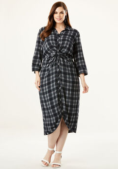 Knot-Front Shirtdress with Button Front, BLACK WINDOW PLAID (PRINT)