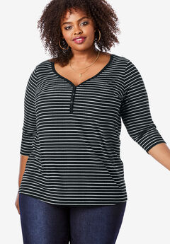 Sweetheart Henley Tee, BLACK STRIPES