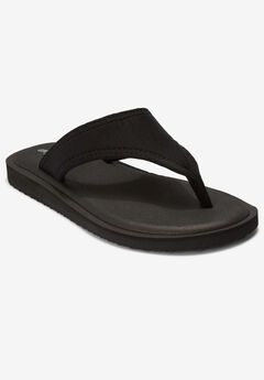The Sylvia Soft Footbed Sandal by Comfortview®, BLACK