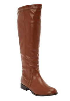 The Malina Wide Calf Boot by Comfortview®, COGNAC