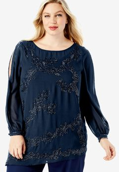 Beaded Illusion-Sleeve Top, NAVY