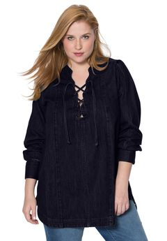 Denim Lace Up Tunic by Denim 24/7®,
