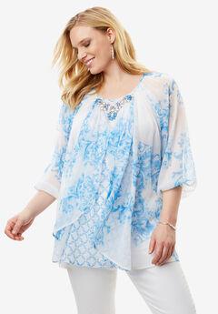 Embellished Print Top with Three-Quarter Sleeves,