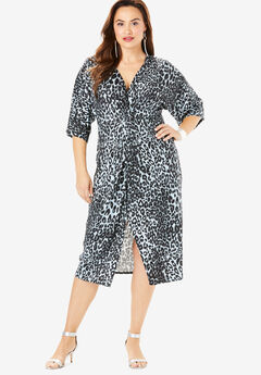 Twist-Front Sheath Dress, GRAY CLASSIC ANIMAL