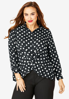 Knot-Front Blouse, BLACK PAINTED DOT