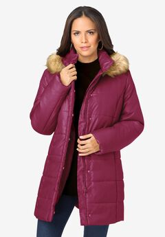 Classic-Length Puffer Jacket with Hood,