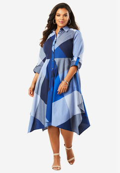 Shirtdress with Handkerchief Hem,
