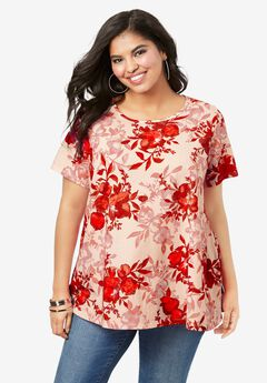 Swing Ultimate Tee with Keyhole Back, PINK SHADOW FLORAL