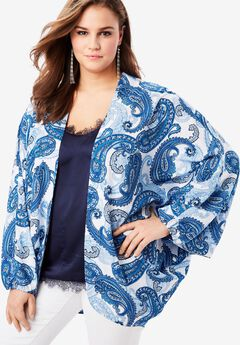 Cocoon Kimono Jacket, COBALT PAISLEY PRINT