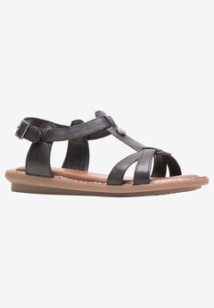Olive T-Strap Sandal by Hush Puppies®, BLACK LEATHER