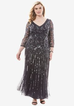 Beaded V-neck Dress by Pisarro Nights,