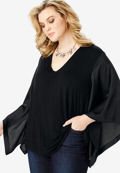 Kimono Sleeve Tunic with High-Low Hem, BLACK