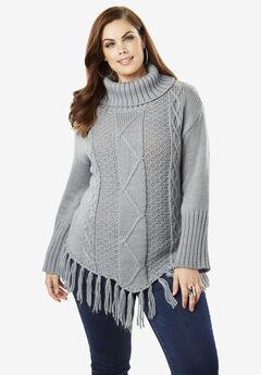 Cowlneck Cableknit Sweater with Fringe Hem,