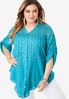 Glam-Embellished Maxi Tunic with Beading, DEEP TURQUOISE
