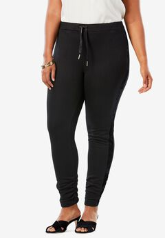 Velour Trim Legging, BLACK