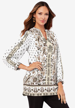 Banded-Collar Tunic with Split Neck, IVORY PAISLEY PRINT