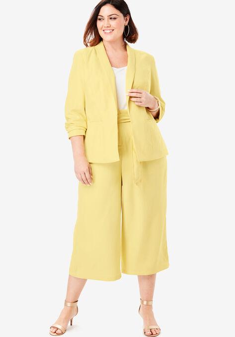 Two-Piece Blazer & Culotte Set| Plus Size Suits & Sets ...
