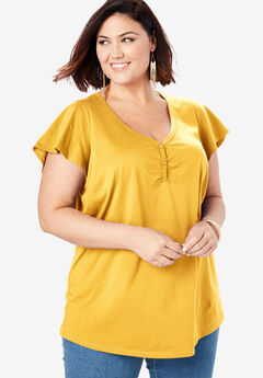Sweetheart Ultimate Tee with Flutter Sleeves, SUNSHINE YELLOW