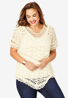 Lace Crochet Top, IVORY