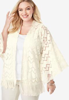 Lace Kimono with Fringe, IVORY