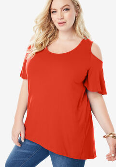 Cold-Shoulder Drape Tunic with High-Low Hem, FLAME RED