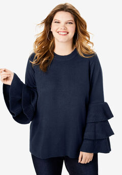 Tiered-Sleeve Sweater,