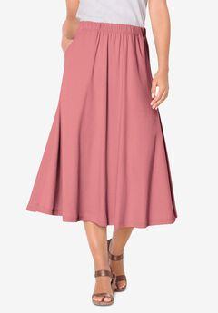 Soft Knit Midi Skirt, DESERT ROSE