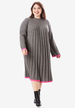 Swing Sweater Dress with Contrast Trim, MEDIUM HEATHER GREY