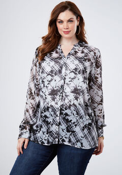 Sheer Crinkle Tunic, BOTANICAL PLAID