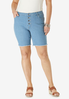 Boyfriend Jean Short with Button Fly by Denim 24/7®,