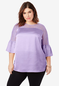 Lace Illusion Blouse with Bell Sleeves, BRIGHT LILAC