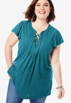 Lace-Up Tunic with Flutter Sleeves,