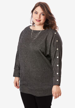 Shimmer Boatneck Sweatshirt, BLACK METALLIC