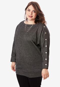 Shimmer Boatneck Sweatshirt, BLACK METALLIC